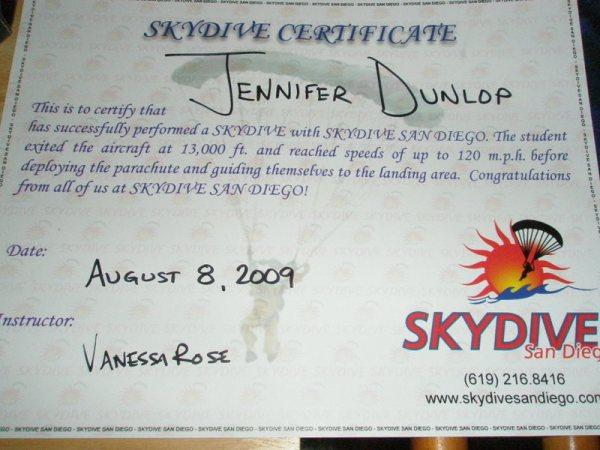 Skydive certificate 002
