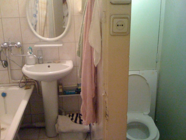 The shower and toilet are in two different rooms in Soviet-style apartments
