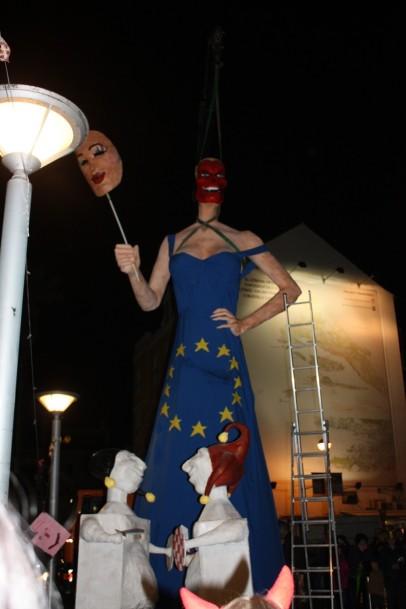 Miss EU's flag dress