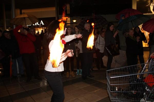 A little fire juggling