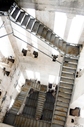 The tall, scary steps up to the top of the tower