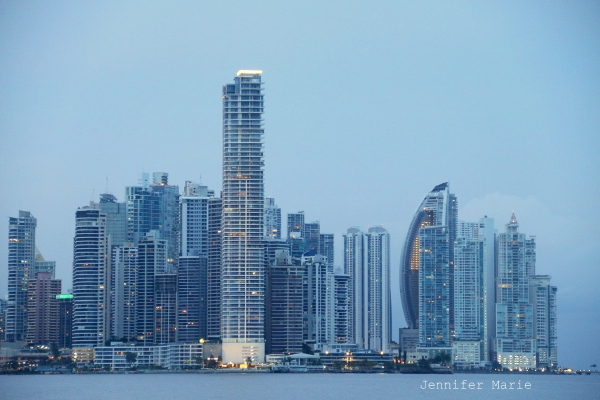 View of the financial district from the Causeway across the Panama Bay